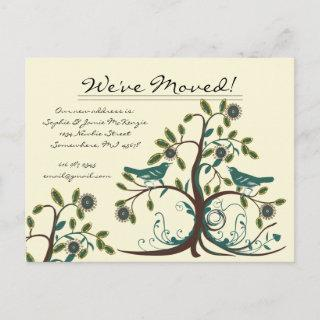 We Have Moved Teal Vintage Birds in a Tree Announcement Postcard