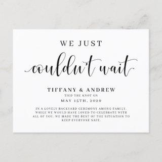 We Just Couldn't Wait Wedding Announcement Postcard
