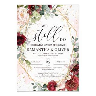 We still do blush burgundy floral vow renewal invitation