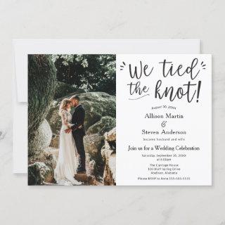 We tied the Knot with Photo Wedding Reception Invitation