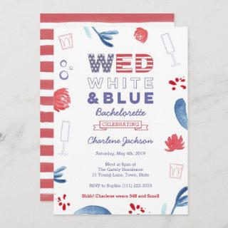 WED Red White and Blue Bachelorette Bridal Shower Invitation