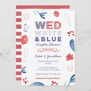 WED White Blue Couples Shower or Engagement Party Invitations