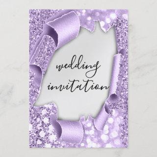 Wedding 3D Effect Elegant Violet  Silver Glitter Invitations