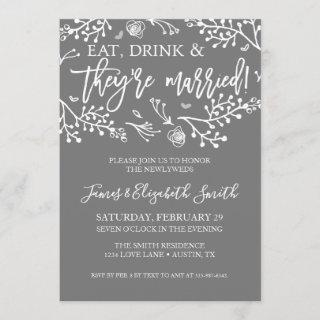 Wedding After Party Invite Gray Floral Announcment