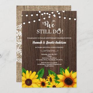 Wedding anniversary invitation Sunflower rustic