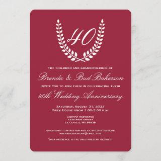 Wedding Anniversary - Ruby Red with White Laurel Invitations