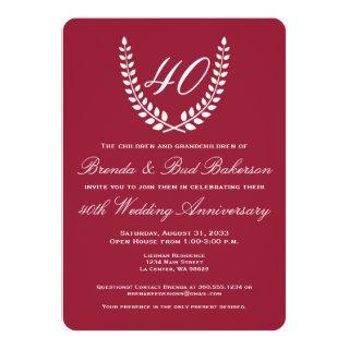 Wedding Anniversary - Ruby Red with White Laurel Invitation