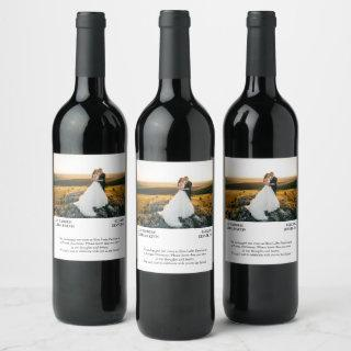 Wedding Announcement custom photo Wine Label