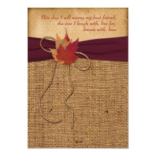 Wedding | Autumn Leaves | FAUX Burlap | Wine Invitations