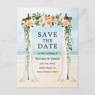Wedding Beach Canopy Watercolor Coral White Floral Announcement Postcard