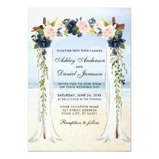 Wedding Beach Canopy Watercolor Pink Blue Floral Invitation