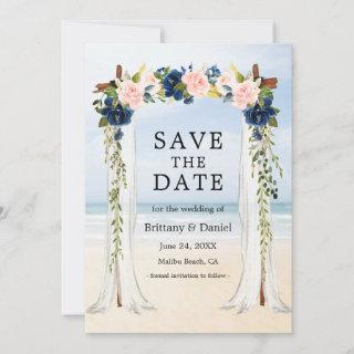 Wedding Beach Canopy Watercolor Pink Blue Floral Save The Date