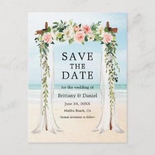 Wedding Beach Canopy Watercolor Pink White Floral Announcement Postcard