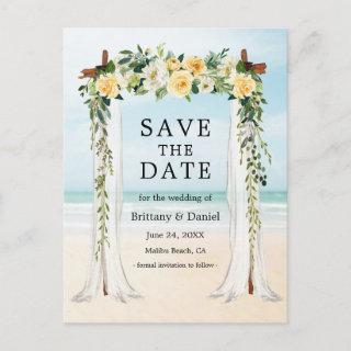 Wedding Beach Canopy Watercolor Yellow Floral Announcement Postcard