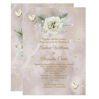 Wedding Beige Gold White Rose Hearts Glitter Invitations