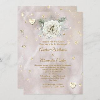 Wedding Beige Gold White Rose Hearts Glitter Invitation