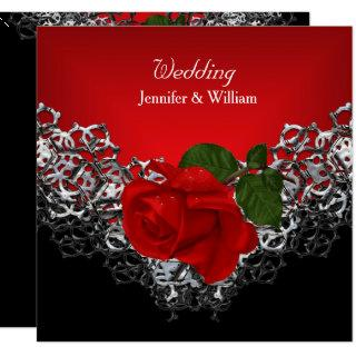Wedding Black White Silver Deep RED Rose Invitations