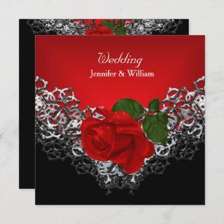 Wedding Black White Silver Deep RED Rose Invitation