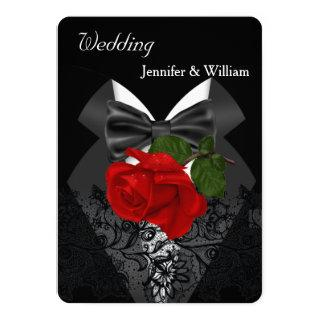 Wedding Black White Tuxedo Deep RED Rose 2c Invitations
