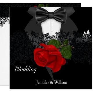 Wedding Black White Tuxedo Deep RED Rose Invitations