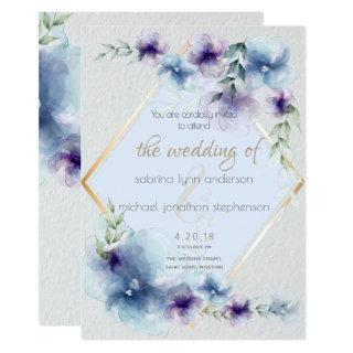 Wedding | Blue and Violet Watercolor Floral Invitations
