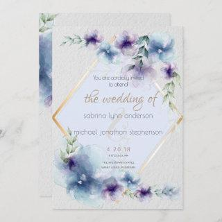 Wedding | Blue and Violet Watercolor Floral Invitation