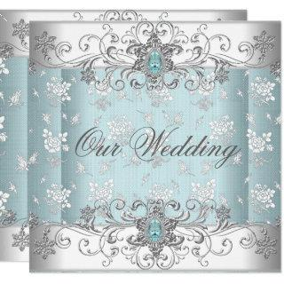 Wedding Blue Silver White Diamond Jewel Lace Invitations