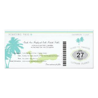 Wedding Boarding Pass to Cayman Islands Invitations