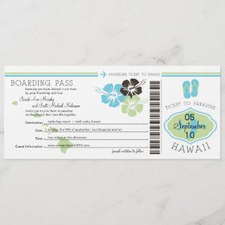 Wedding Boarding Pass to Hawaii Save The Date