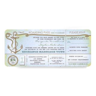 wedding boarding pass-vintage tickets with RSVP Invitations