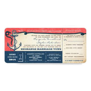 wedding boarding pass-vintage tickets with RSVP Invitation