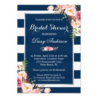 Wedding Bridal Shower Floral Silver Navy Stripes Invitations