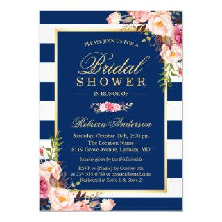 Wedding Bridal Shower | Navy Blue Stripes Floral Invitation