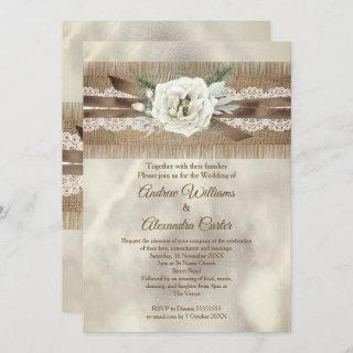 Wedding Burlap Beige White Rose Lace Bow Invitation
