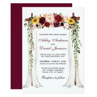 Wedding Canopy Arch Watercolor Mixed Floral Invitation