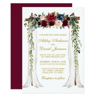 Wedding Canopy Gold Watercolor Floral Arch Invitations