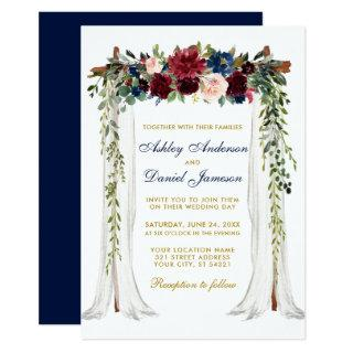 Wedding Canopy Watercolor Floral Arch Blue Gold Invitations