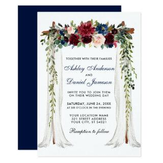 Wedding Canopy Watercolor Floral Arch Blue Invitations