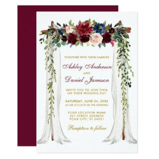 Wedding Canopy Watercolor Floral Arch Gold Invitation