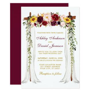 Wedding Canopy Watercolor Mixed Floral Gold Invitations