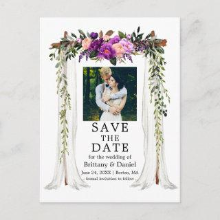 Wedding Canopy Watercolor Purple Floral Photo Announcement Postcard