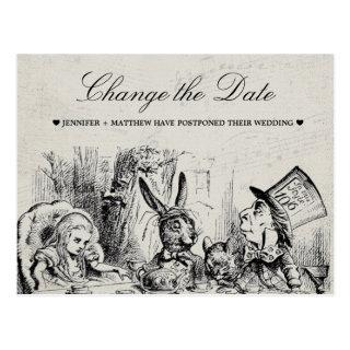 Wedding Change the Date Alice in Wonderland Postcard