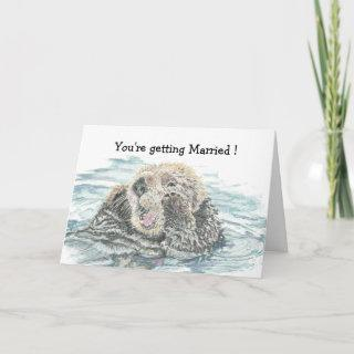 Wedding Congrats Cute Excited Otter Humorous Card
