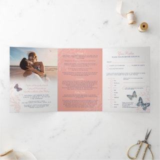 Wedding coral blue butterflies all-in-one  Tri-Fold