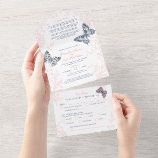 Wedding coral butterflies details & meal RSVP All In One