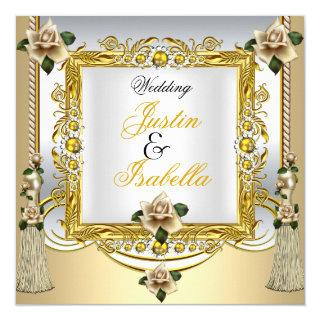 Wedding Cream Roses Tassels Gold Floral Invitations