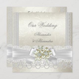 Wedding Cream White Pearl Lace Damask Diamond Invitations