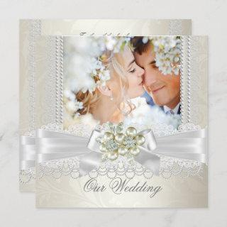 Wedding Cream White Pearl Lace Damask Diamond Pic Invitations
