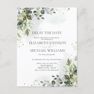 Wedding Date Postponement Eucalyptus Watercolor Announcement Postcard