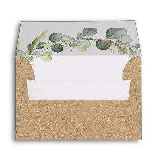 Wedding Details Eucalyptus Greenery Kraft Paper Envelope